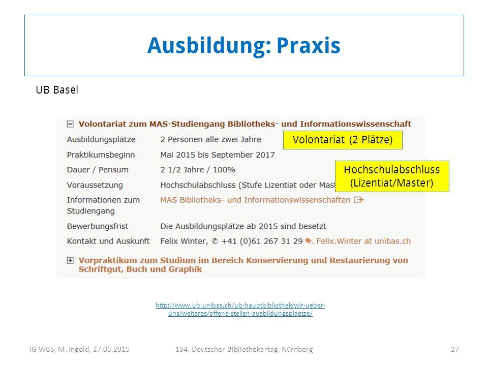 IG WBS, M. Ingold, 27.05.2015104. Deutscher Bibliothekartag, Nürnberg27 Ausbildung: Praxis Volontariat (2 Plätze) Hochschulabschluss (Lizentiat/Master