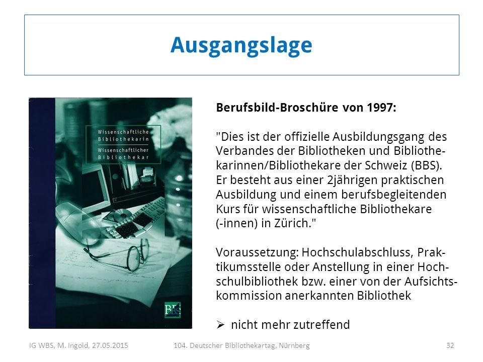 IG WBS, M. Ingold, 27.05.2015104. Deutscher Bibliothekartag, Nürnberg32 Ausgangslage Berufsbild-Broschüre von 1997: