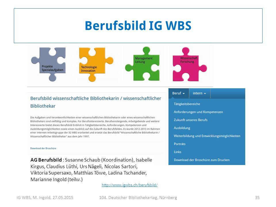 IG WBS, M. Ingold, 27.05.2015104. Deutscher Bibliothekartag, Nürnberg35 AG Berufsbild : Susanne Schaub (Koordination), Isabelle Kirgus, Claudius Lüthi