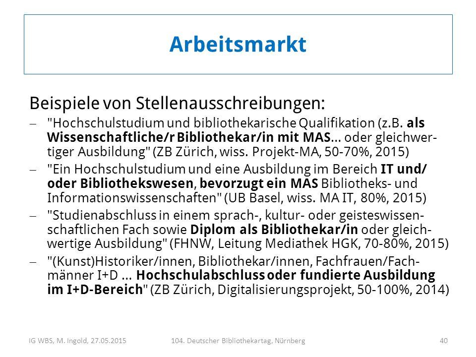 Beispiele von Stellenausschreibungen:  Hochschulstudium und bibliothekarische Qualifikation (z.B.