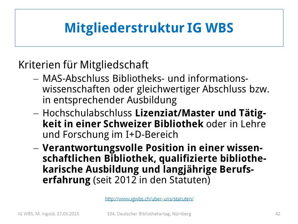 Kriterien für Mitgliedschaft  MAS-Abschluss Bibliotheks- und informations- wissenschaften oder gleichwertiger Abschluss bzw. in entsprechender Ausbil