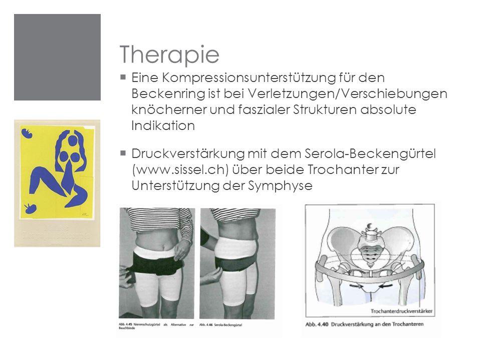 Therapie  Eine Kompressionsunterstützung für den Beckenring ist bei Verletzungen/Verschiebungen knöcherner und faszialer Strukturen absolute Indikati