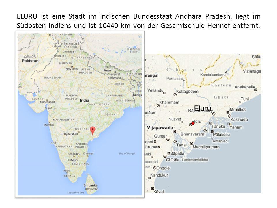 ELURU ist eine Stadt im indischen Bundesstaat Andhara Pradesh, liegt im Südosten Indiens und ist 10440 km von der Gesamtschule Hennef entfernt.