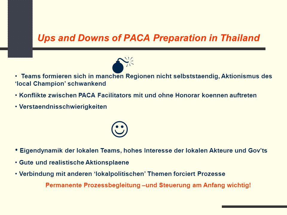 Starting PACA in Thailand – Step 2: Formation of Teams and Preparation of PACA Projects Ernennung von PACA Focal Persons und Bildung von PACA Teams PACA Broschure in Thai und Englisch, Uebersetzungen der Materialien Verhandlung und Fertigstellung von Proposal und Action Plans, Meetings mit Governors,Competitiveness Study Chiang Mai PACA Kick-off Workshops in 5 Regionen im April geplant