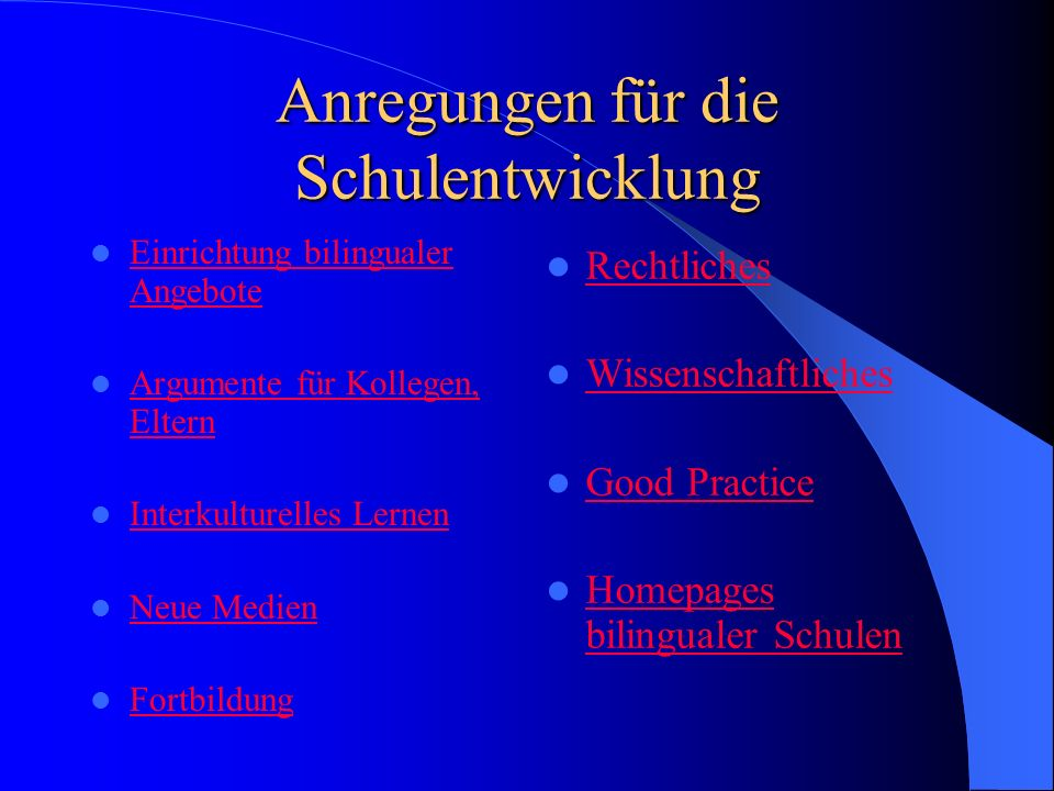 Angebote für Sachfächer ENGLISCH Art, Music Civics, Social Studies Geography History Math Science Physical Education FRANZÖSISCH Geschichte Geographie Sozialkunde Musik ANDERE SPRACHEN Spanisch, Italienisch