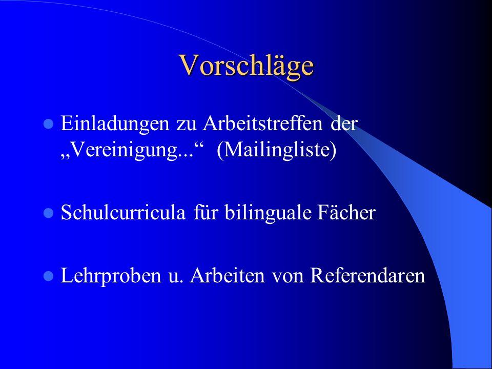 Patenschaft für ein Fach Materialangebote Fortbildungsangebote News Linkliste Netzquellen für das Fach... Curriculum Mailingliste Bilingual