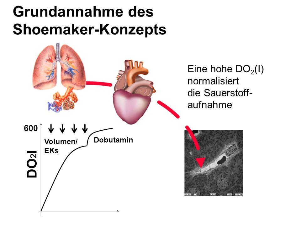 Grundannahme des Shoemaker-Konzepts Eine hohe DO 2 (I) normalisiert die Sauerstoff- aufnahme Dobutamin DO 2 I 600 Volumen/ EKs
