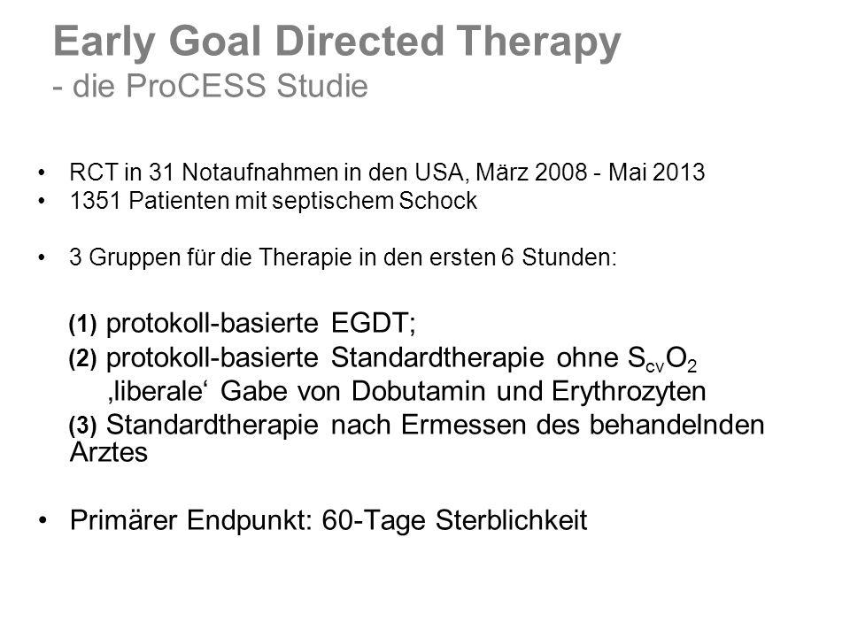 RCT in 31 Notaufnahmen in den USA, März 2008 - Mai 2013 1351 Patienten mit septischem Schock 3 Gruppen für die Therapie in den ersten 6 Stunden: (1) p