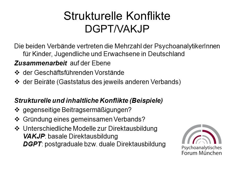 Strukturelle Konflikte DGPT/VAKJP Die beiden Verbände vertreten die Mehrzahl der PsychoanalytikerInnen für Kinder, Jugendliche und Erwachsene in Deuts