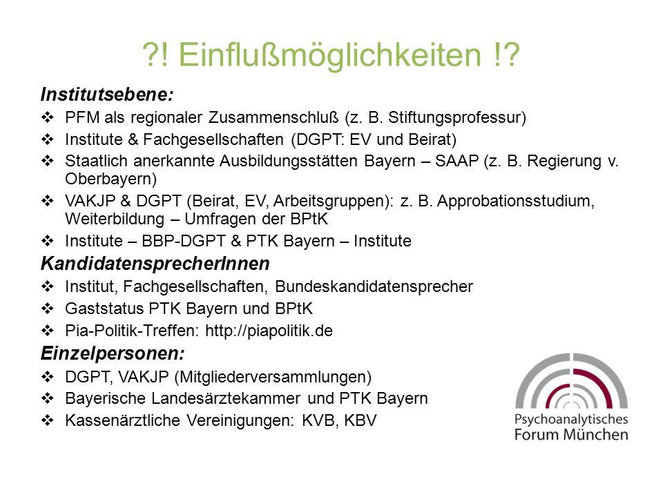 ?! Einflußmöglichkeiten !? Institutsebene:  PFM als regionaler Zusammenschluß (z. B. Stiftungsprofessur)  Institute & Fachgesellschaften (DGPT: EV u