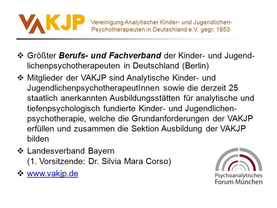  Größter Berufs- und Fachverband der Kinder- und Jugend- lichenpsychotherapeuten in Deutschland (Berlin)  Mitglieder der VAKJP sind Analytische Kind