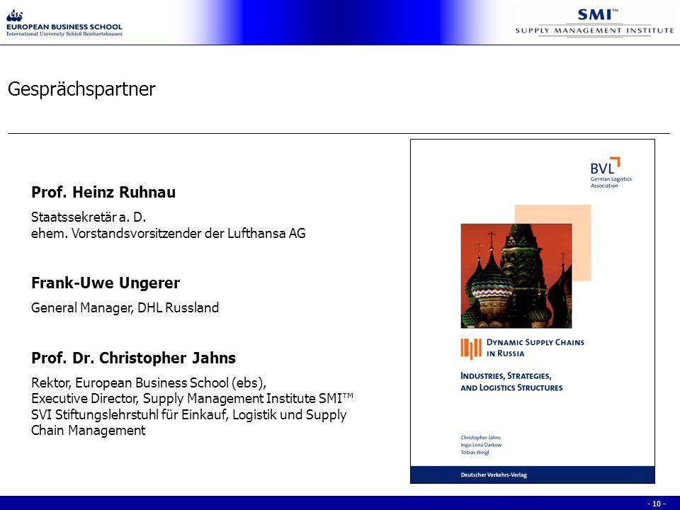 - 10 - Gesprächspartner Prof. Heinz Ruhnau Staatssekretär a.