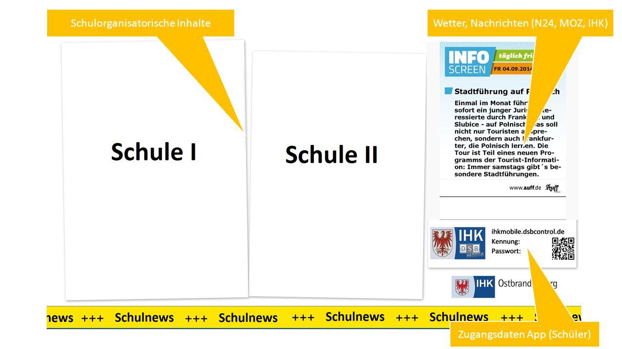 Wetter, Nachrichten (N24, MOZ, IHK)Schulorganisatorische Inhalte Zugangsdaten App (Schüler)
