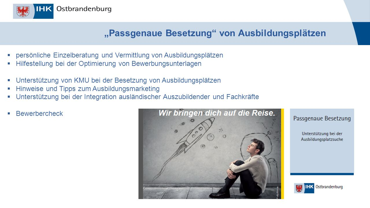 """_______________ Titel der Veranstaltung, Autor, Datum """"Passgenaue Besetzung"""" von Ausbildungsplätzen  persönliche Einzelberatung und Vermittlung von A"""