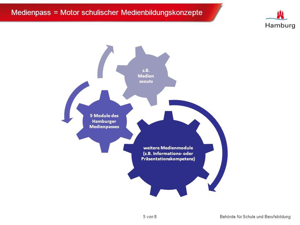 Behörde für Schule und Berufsbildung Medienpass = Motor schulischer Medienbildungskonzepte 5 von 8 weitere Medienmodule (z.B. Informations- oder Präse