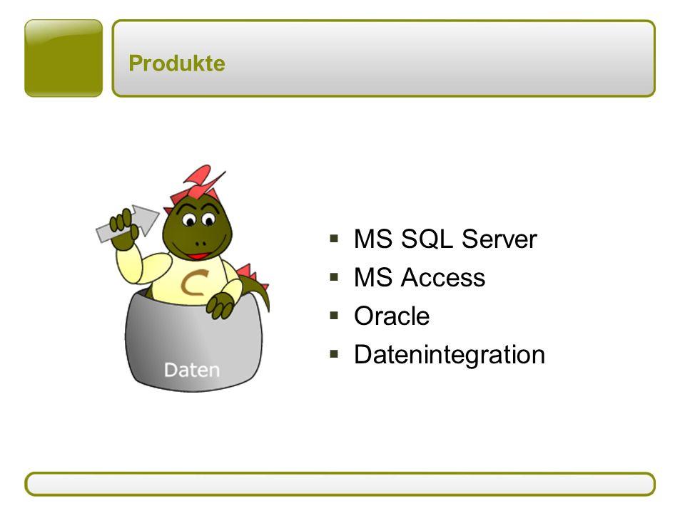 Produkte: MS SQL Server  MS SQL Server 2005 –Datenbankmodul –Berichtssysteme mit Reporting Services –Data Warehousing/Data Mining mit Analysis Services –Schnittstellen mit Integration Services