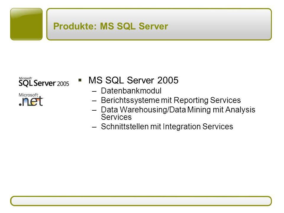 Produkte: MS Access  MS Access –Datenbankmodul –Berichtssysteme –MS Access VBA-Oberflächen für MS Access oder MS SQL Server –Softwareentwicklung mit VBA oder.NET