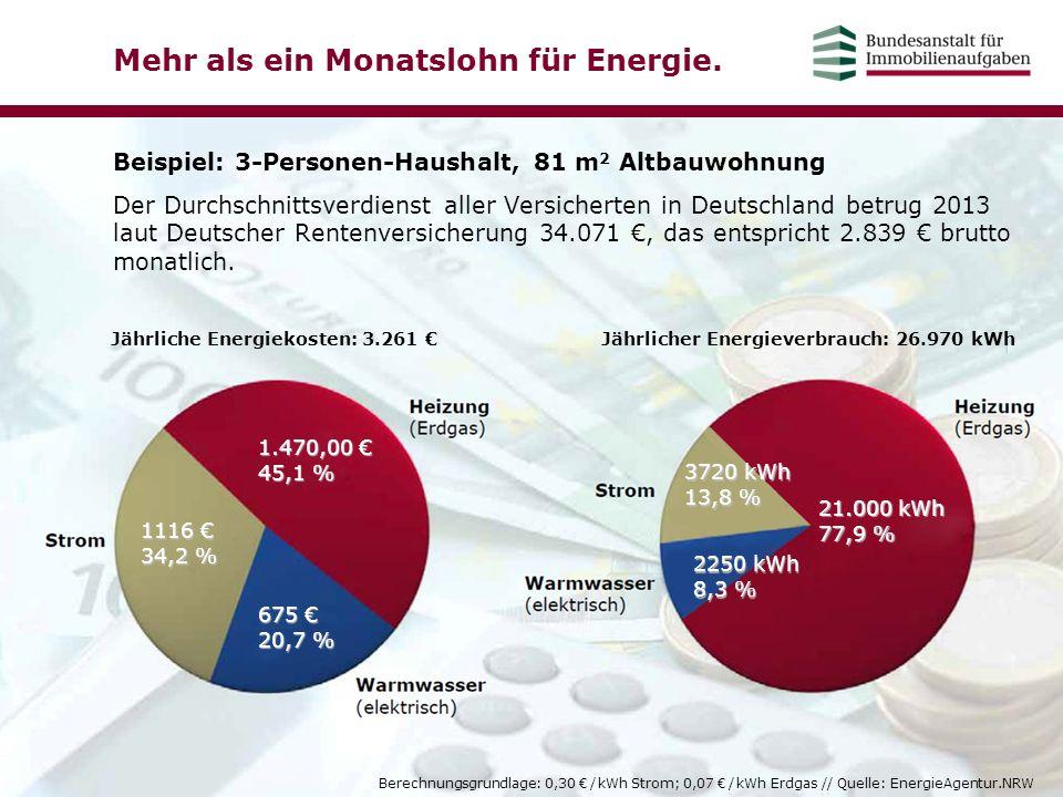 Mehr als ein Monatslohn für Energie. Beispiel: 3-Personen-Haushalt, 81 m 2 Altbauwohnung Der Durchschnittsverdienst aller Versicherten in Deutschland