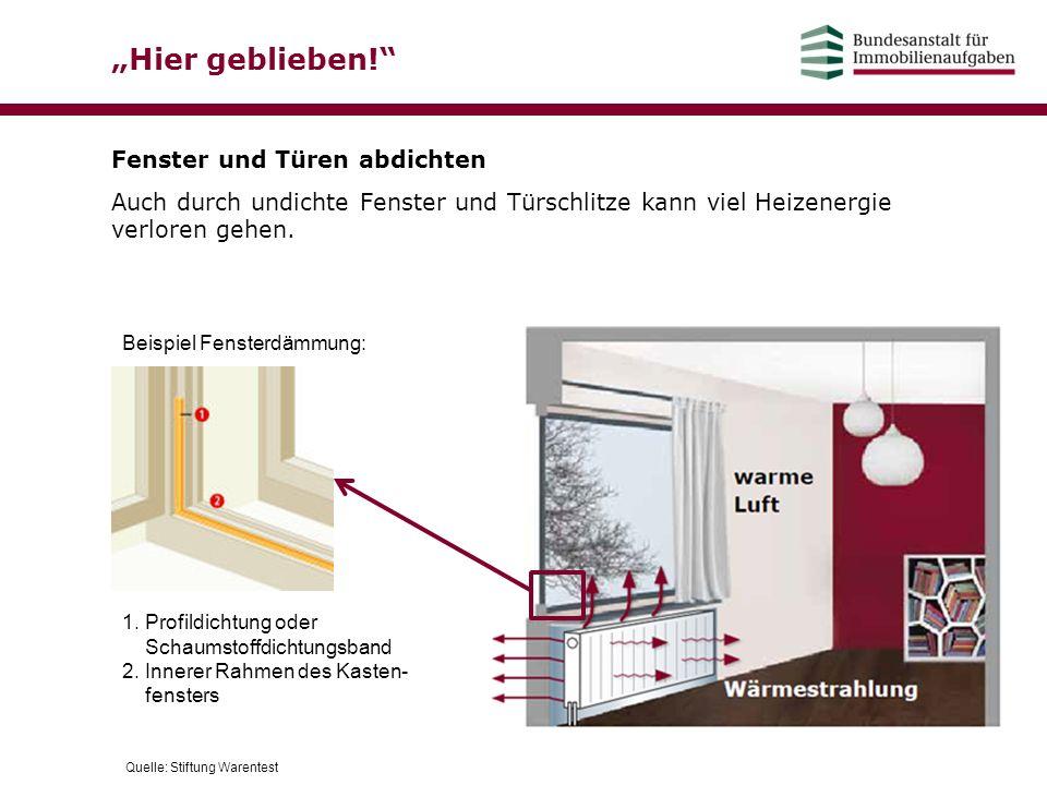 """""""Hier geblieben!"""" Fenster und Türen abdichten Auch durch undichte Fenster und Türschlitze kann viel Heizenergie verloren gehen. 1. Profildichtung oder"""