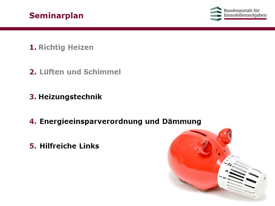 Seminarplan 1.Richtig Heizen 2.Lüften und Schimmel 3.Heizungstechnik 4.Energieeinsparverordnung und Dämmung 5.Hilfreiche Links