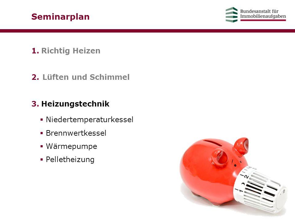 Seminarplan 1.Richtig Heizen 2.Lüften und Schimmel 3.Heizungstechnik  Niedertemperaturkessel  Brennwertkessel  Wärmepumpe  Pelletheizung