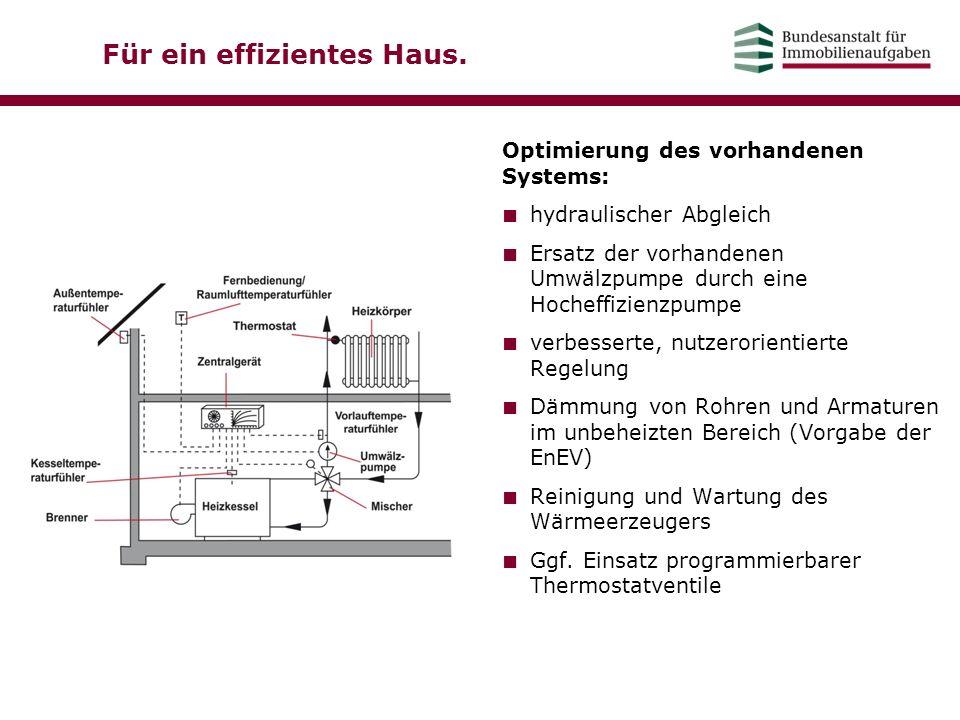Für ein effizientes Haus. Optimierung des vorhandenen Systems: ■ hydraulischer Abgleich ■ Ersatz der vorhandenen Umwälzpumpe durch eine Hocheffizienzp