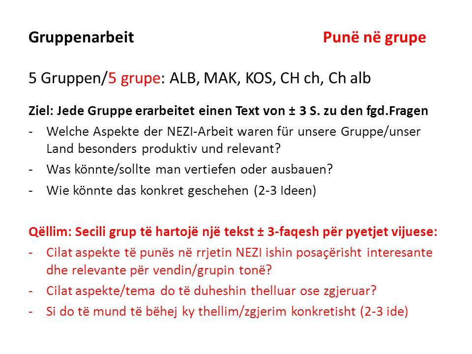 Gruppenarbeit Punë në grupe 5 Gruppen/5 grupe: ALB, MAK, KOS, CH ch, Ch alb Ziel: Jede Gruppe erarbeitet einen Text von ± 3 S. zu den fgd.Fragen -Welc