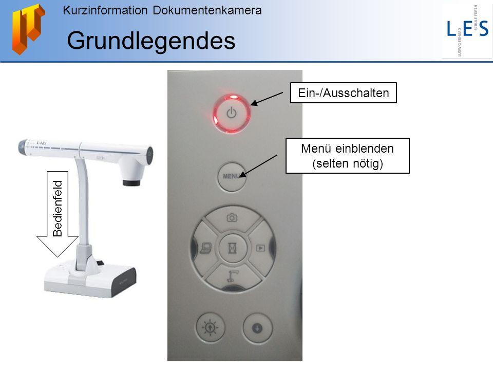 Kurzinformation Dokumentenkamera Grundlegendes Ein-/Ausschalten Menü einblenden (selten nötig) Bedienfeld