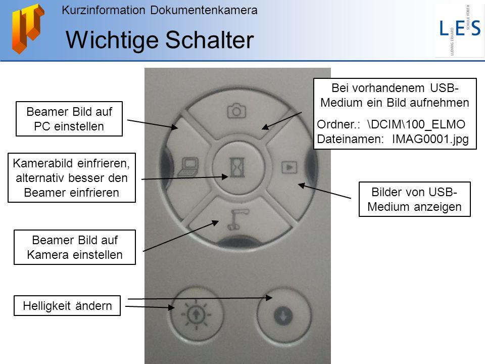 Kurzinformation Dokumentenkamera Wichtige Schalter Bei vorhandenem USB- Medium ein Bild aufnehmen Ordner.: \DCIM\100_ELMO Dateinamen: IMAG0001.jpg Bil