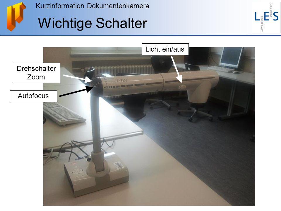Kurzinformation Dokumentenkamera Fernsteuerung Für die Dokumentenkamera gibt es eine Fernsteuerung.