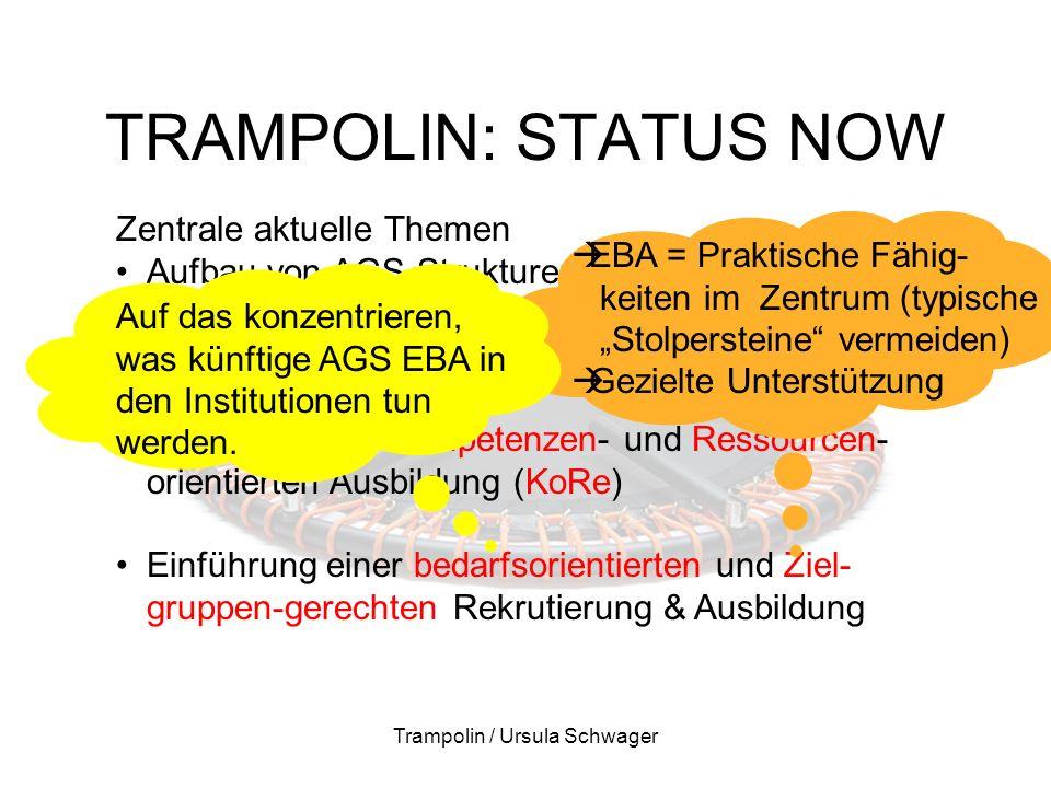 """TRAMPOLIN: STATUS NOW Trampolin / Ursula Schwager Zentrale aktuelle Themen Aufbau von AGS-Strukturen an den 3 Lernorten Förderung der Lernortkooperation Einführung der Kompetenzen- und Ressourcen- orientierten Ausbildung (KoRe) Einführung einer bedarfsorientierten und Ziel- gruppen-gerechten Rekrutierung & Ausbildung  EBA = Praktische Fähig- keiten im Zentrum (typische """"Stolpersteine vermeiden)  Gezielte Unterstützung Auf das konzentrieren, was künftige AGS EBA in den Institutionen tun werden."""