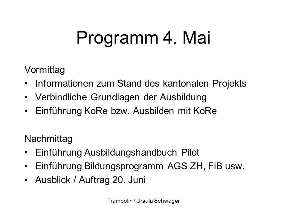 Programm 4. Mai Vormittag Informationen zum Stand des kantonalen Projekts Verbindliche Grundlagen der Ausbildung Einführung KoRe bzw. Ausbilden mit Ko