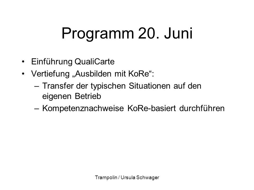 """Programm 20. Juni Einführung QualiCarte Vertiefung """"Ausbilden mit KoRe"""": –Transfer der typischen Situationen auf den eigenen Betrieb –Kompetenznachwei"""