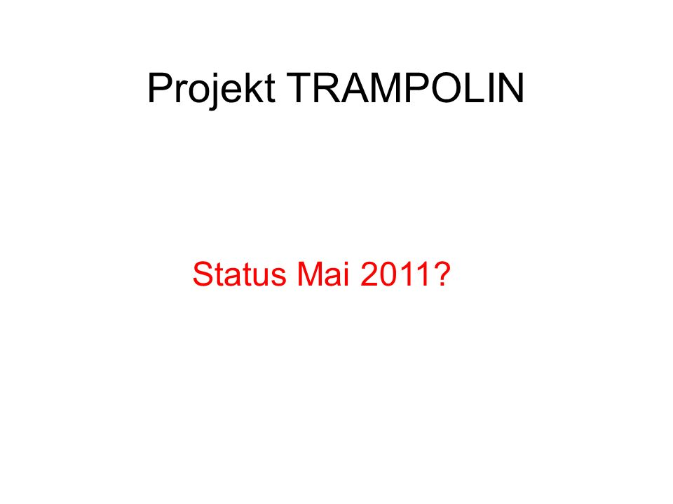 Projekt TRAMPOLIN Trampolin / Ursula Schwager Noch nicht ganz, jedoch...