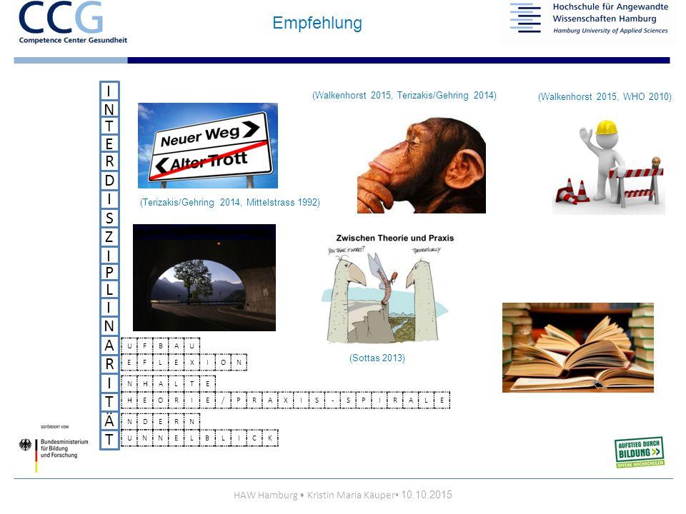 HAW Hamburg Kristin Maria Käuper 10.10.2015 I N T S E R D Z I I P L I I N A T R Ä T UFBAU EFLEXION NHALTE HEORIE/PRAXIS-SPIRALE NDERN UNNELBLICK (Walkenhorst 2015, WHO 2010) (Walkenhorst 2015, Terizakis/Gehring 2014) (Sottas 2013) (Terizakis/Gehring 2014, Mittelstrass 1992) Empfehlung
