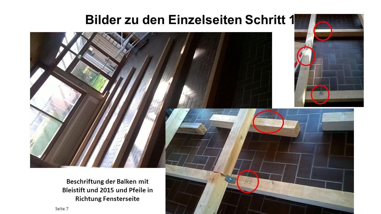 Bilder zu den Einzelseiten Schritt 1 Seite 7 Beschriftung der Balken mit Bleistift und 2015 und Pfeile in Richtung Fensterseite