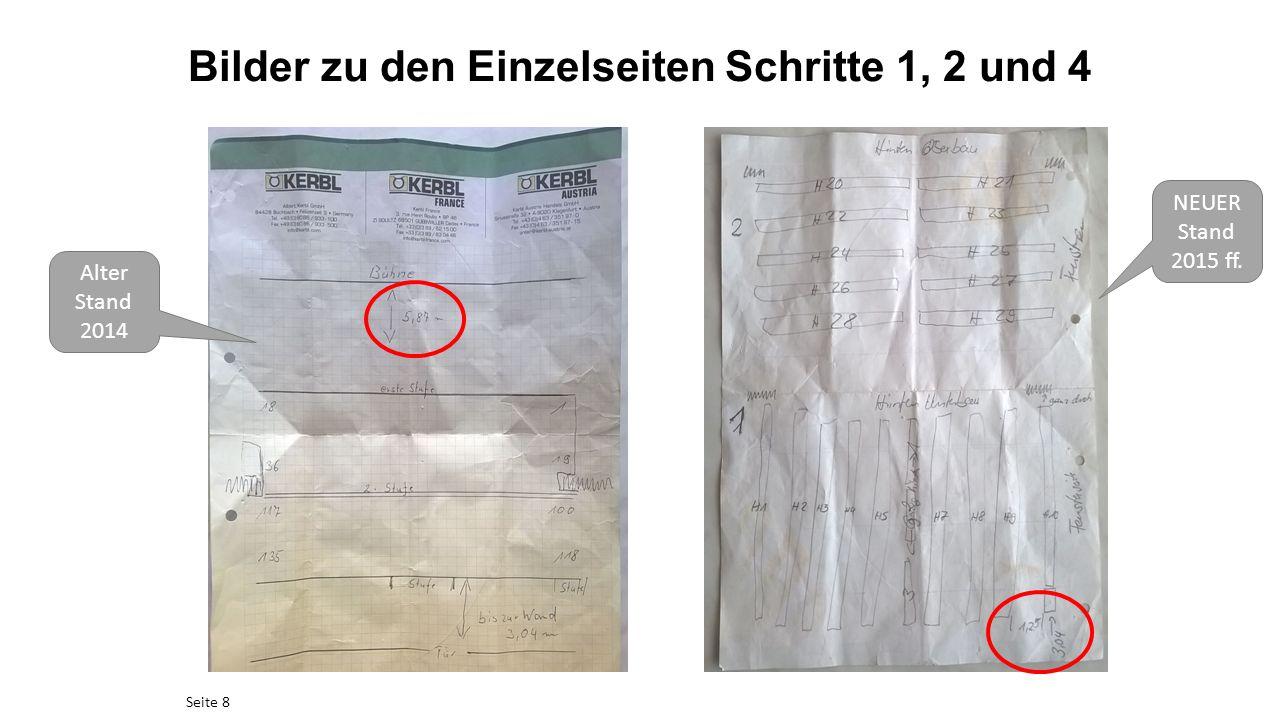 Bilder zu den Einzelseiten Schritte 1, 2 und 4 Seite 8 Alter Stand 2014 NEUER Stand 2015 ff.