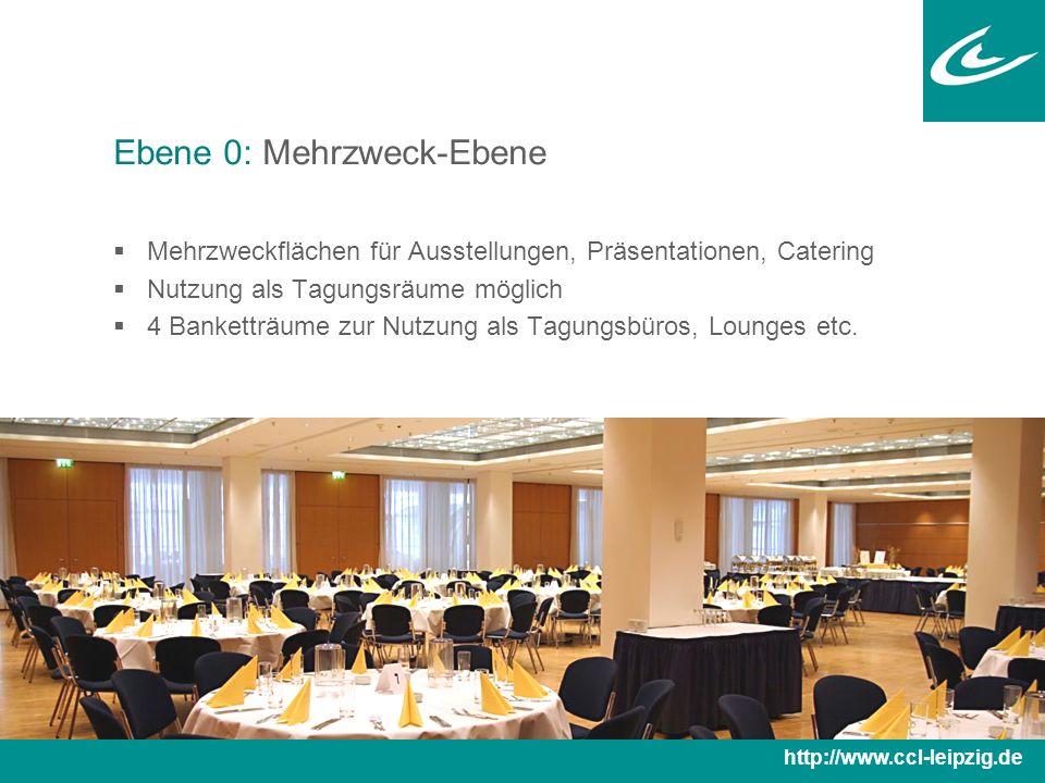 Ebene 0: Mehrzweck-Ebene  Mehrzweckflächen für Ausstellungen, Präsentationen, Catering  Nutzung als Tagungsräume möglich  4 Banketträume zur Nutzung als Tagungsbüros, Lounges etc.