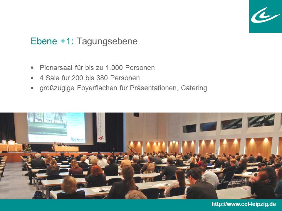 Ebene +1: Tagungsebene  Plenarsaal für bis zu 1.000 Personen  4 Säle für 200 bis 380 Personen  großzügige Foyerflächen für Präsentationen, Catering http://www.ccl-leipzig.de