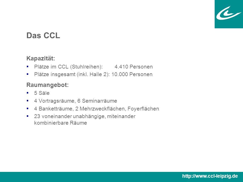 Das CCL Kapazität:  Plätze im CCL (Stuhlreihen): 4.410 Personen  Plätze insgesamt (inkl.