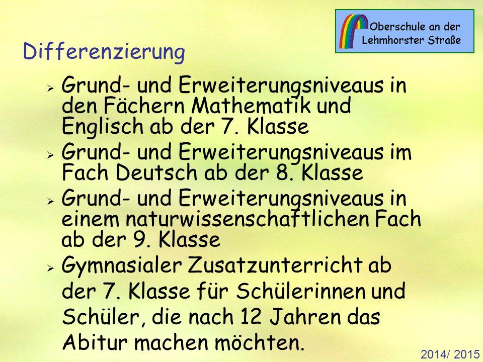 2014/ 2015 Differenzierung  Grund- und Erweiterungsniveaus in den Fächern Mathematik und Englisch ab der 7.