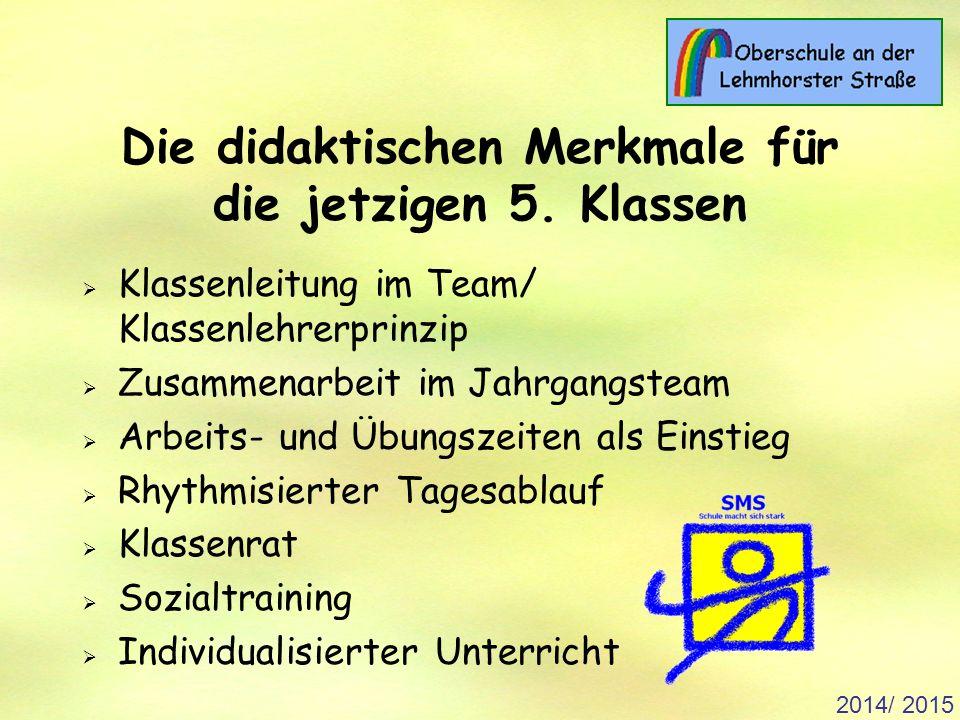 2014/ 2015 Die didaktischen Merkmale für die jetzigen 5.
