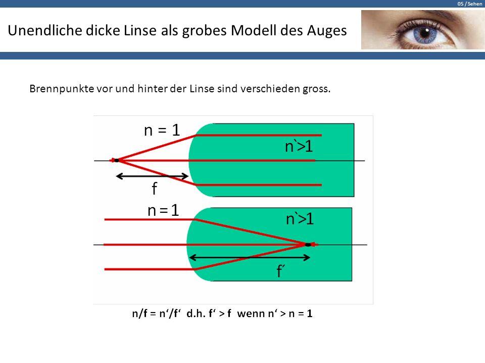 05 / Sehen Unendliche dicke Linse als grobes Modell des Auges Brennpunkte vor und hinter der Linse sind verschieden gross.