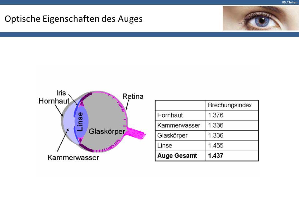 05 / Sehen Optische Eigenschaften des Auges
