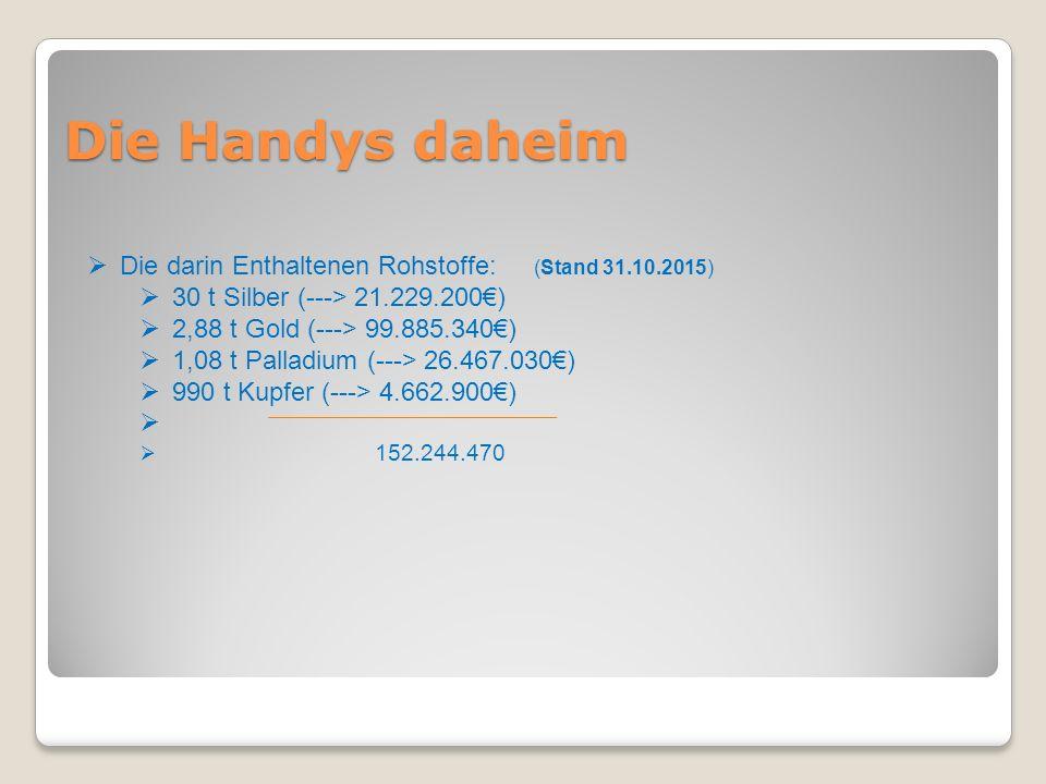 Die Handys daheim  Die darin Enthaltenen Rohstoffe: (Stand 31.10.2015)  30 t Silber (---> 21.229.200€)  2,88 t Gold (---> 99.885.340€)  1,08 t Pal