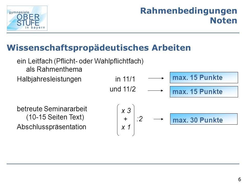 7 Leitfach und Rahmenthema Leitfach: Pflicht- oder Wahlpflichtfach (Anlage § 6 GSO, 28.