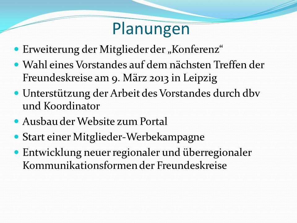"""Planungen Erweiterung der Mitglieder der """"Konferenz Wahl eines Vorstandes auf dem nächsten Treffen der Freundeskreise am 9."""