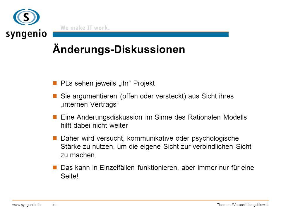 """10 www.syngenio.deThemen-/ Veranstaltungshinweis Änderungs-Diskussionen PLs sehen jeweils """"ihr"""" Projekt Sie argumentieren (offen oder versteckt) aus S"""