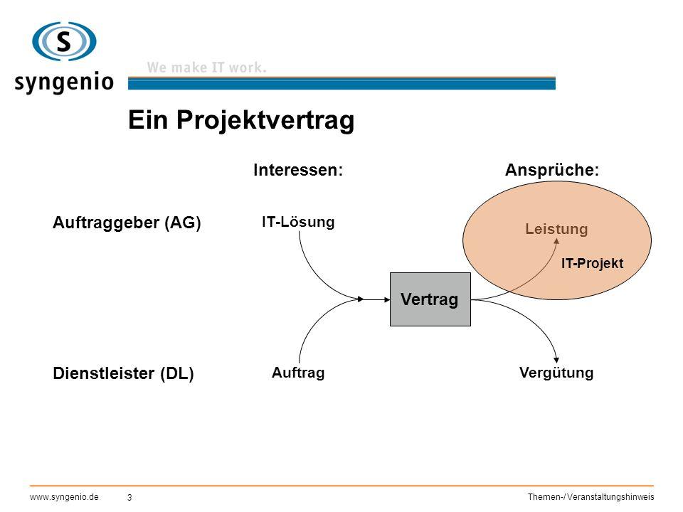 3 www.syngenio.deThemen-/ Veranstaltungshinweis Ein Projektvertrag Auftraggeber (AG) Dienstleister (DL) Interessen: IT-Lösung Auftrag Vertrag Leistung