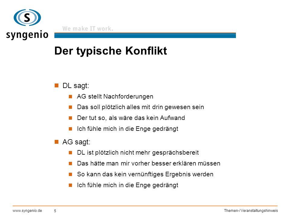 5 www.syngenio.deThemen-/ Veranstaltungshinweis Der typische Konflikt DL sagt: AG stellt Nachforderungen Das soll plötzlich alles mit drin gewesen sei